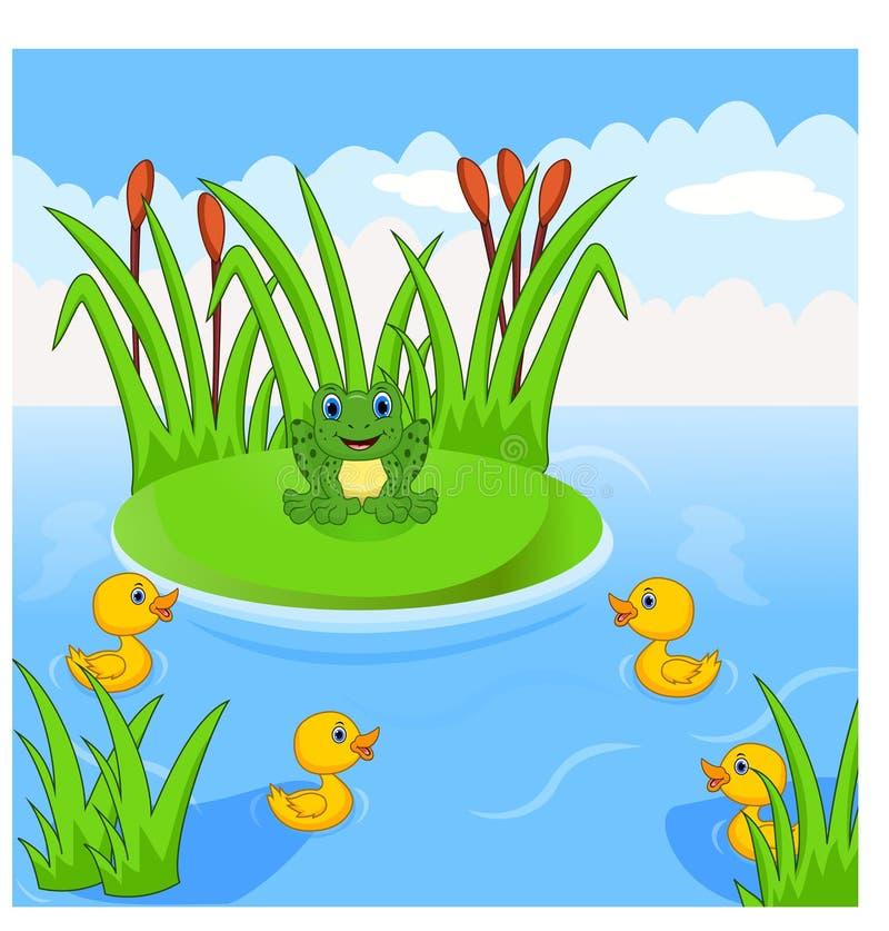 Groda och fyra lilla gulliga ankungar i floden vektor illustrationer