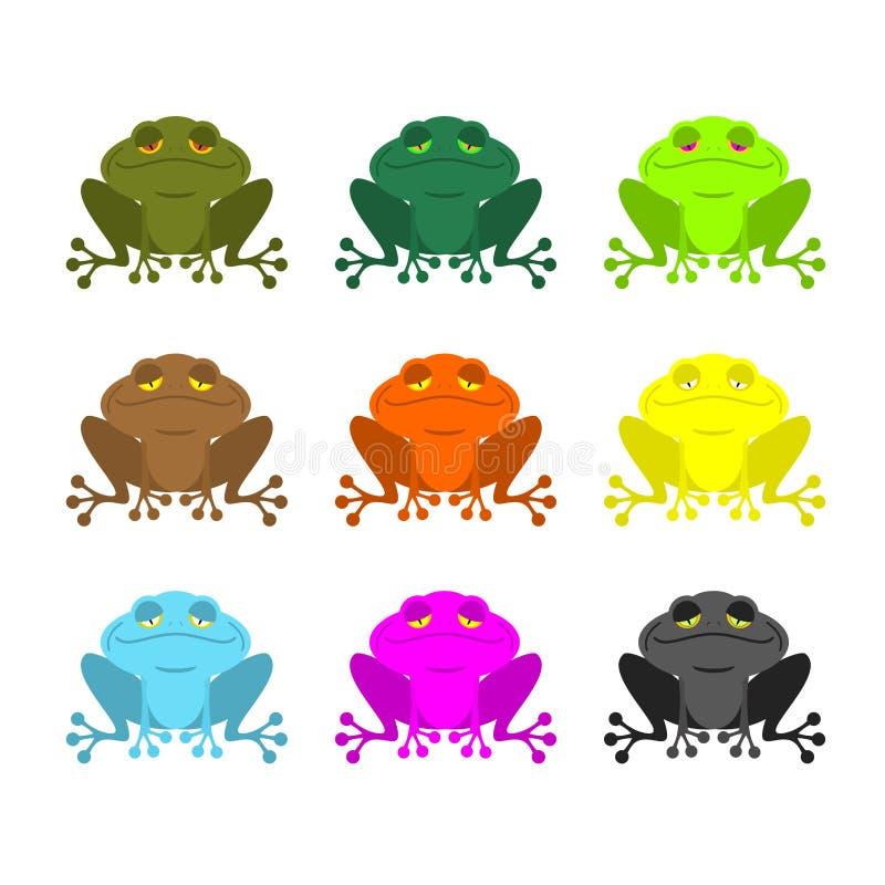 Grodafärguppsättning Kulöra paddor Woody Orange groda Guling och bl vektor illustrationer