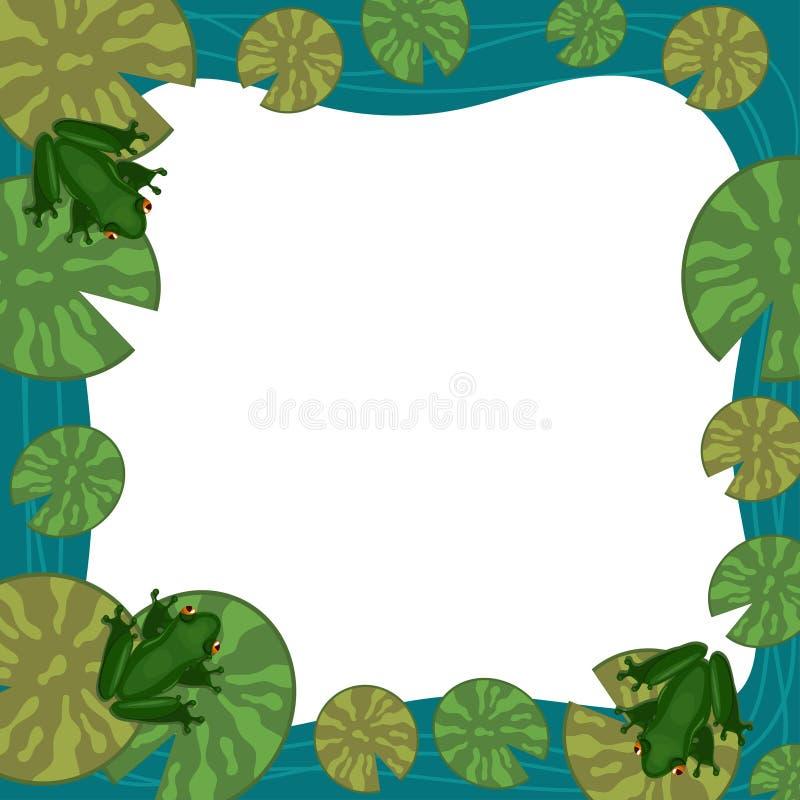 Grodaram med liljablock Tomt st?lle f?r text vektor f?r kantburma etnisk myanmar modell royaltyfri illustrationer