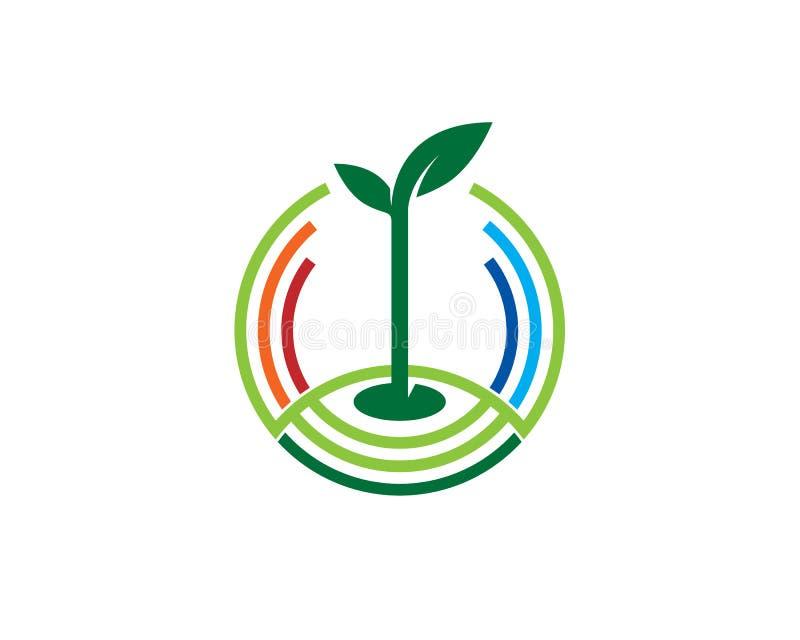 Grodden växer på jordningen inom rund linje stock illustrationer