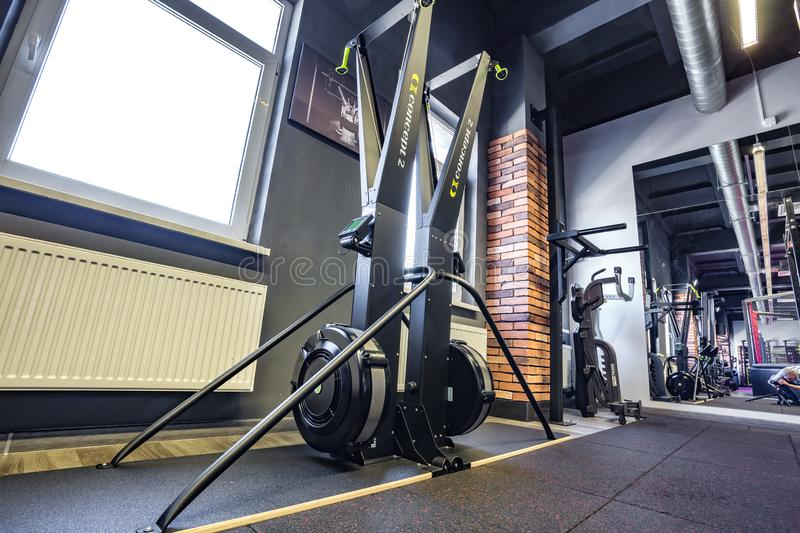 GRODNO, BELARUS - APRIL 2019: Hall of martial arts with fighting ring and punching bags in the modern Fight club royalty free stock photo