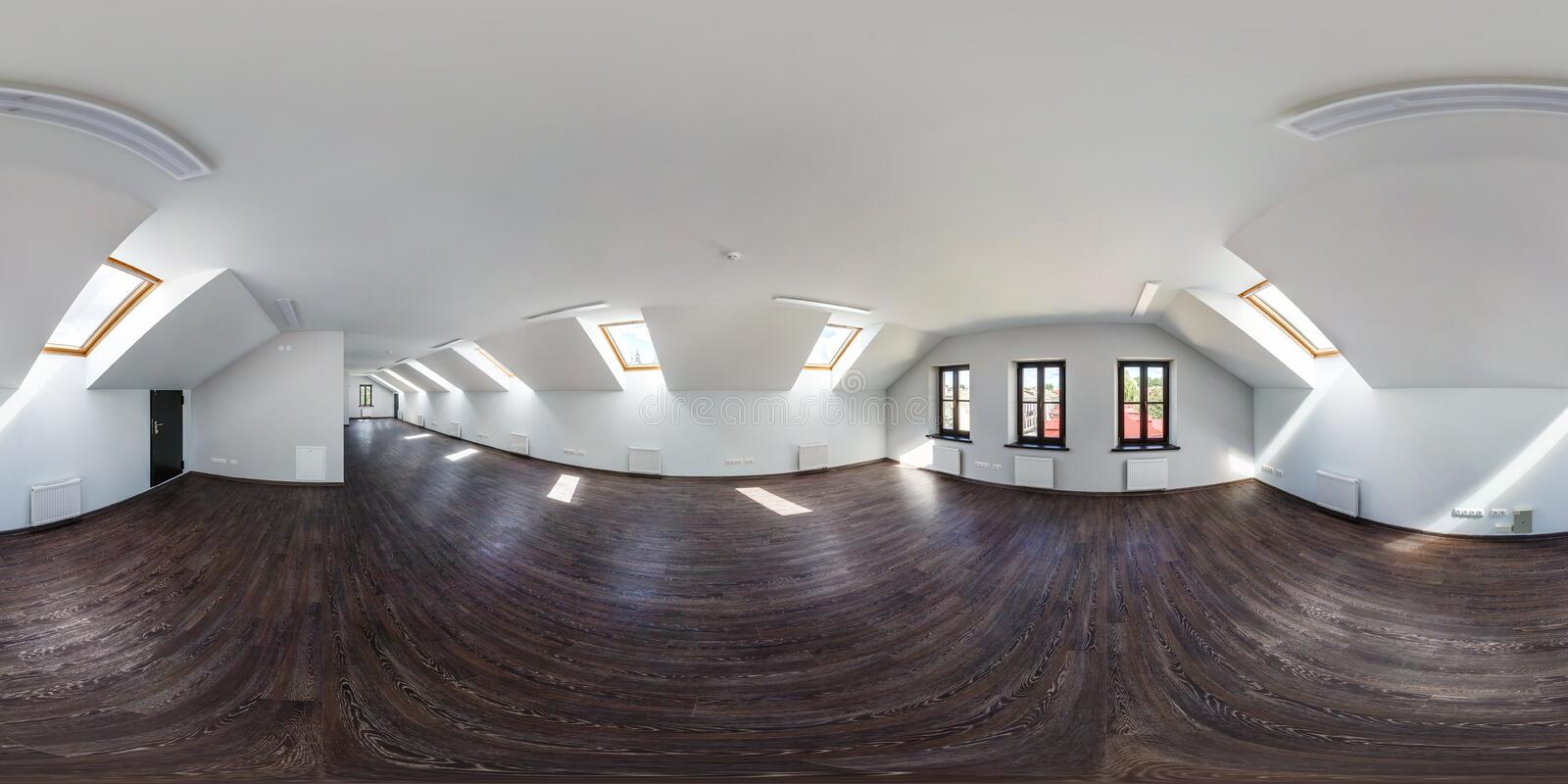 GRODNO, BELARUS - AUGUST 15, 2017: Full spherical 360 by 180 degrees seamless panorama in equirectangular equidistant projection,. Panorama in interior of empty royalty free stock images