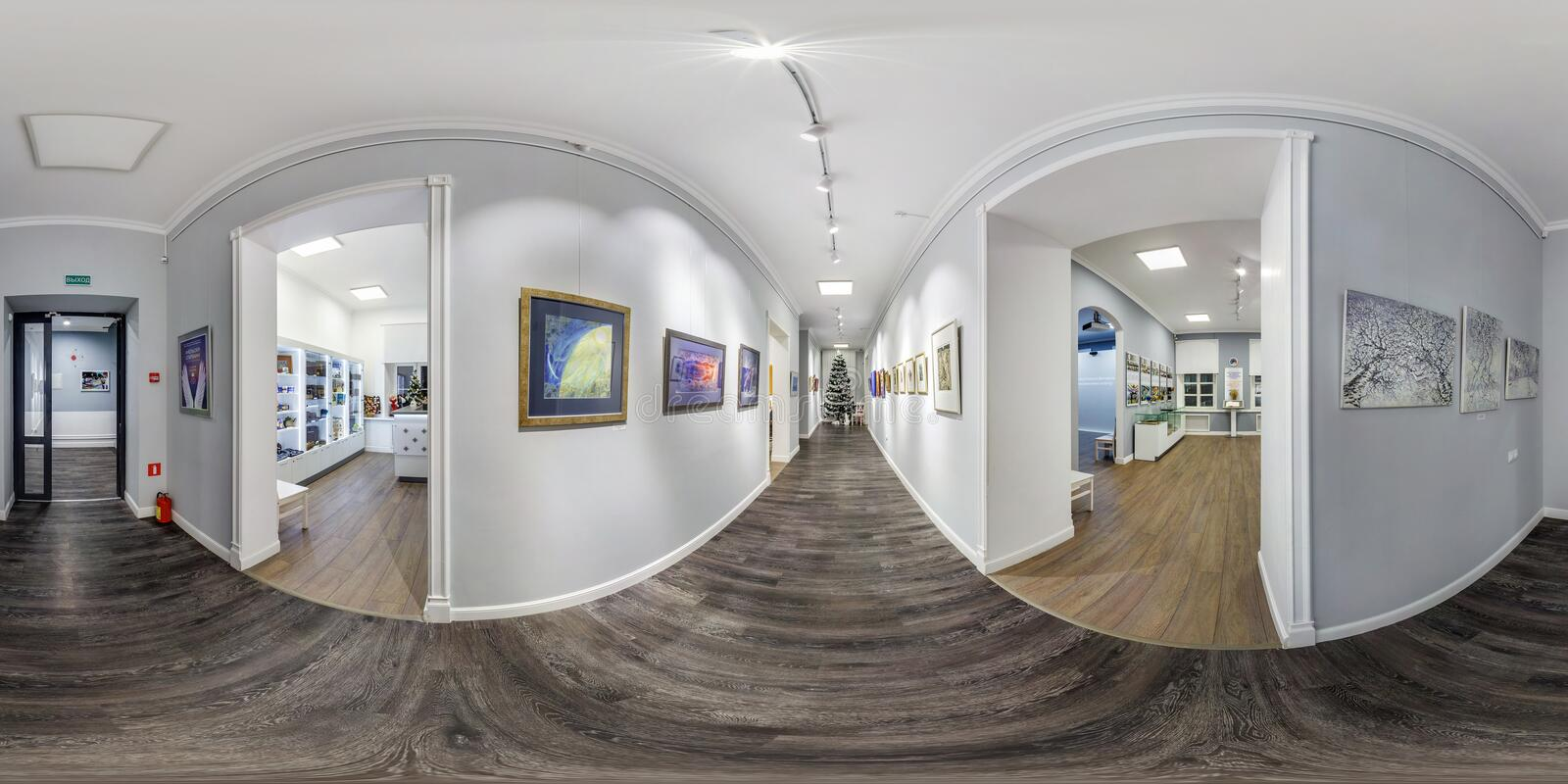 GRODNO, BELARUS - december, 2018: Full seamless spherical panorama 360 degrees angle view in interior of contemporary art gallery. In equirectangular projection royalty free stock image