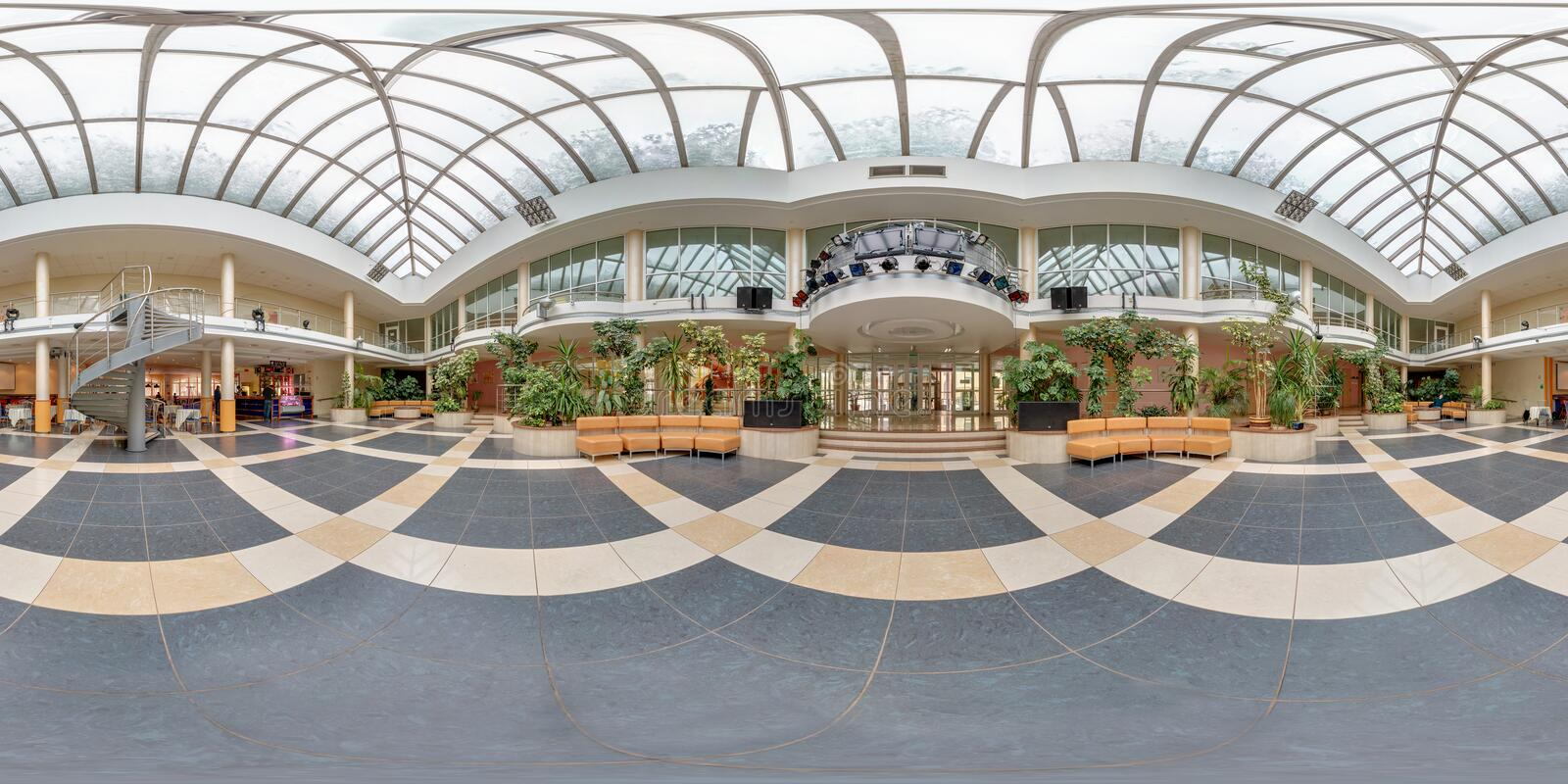 GRODNO, BELARUS - FEBRUARY 21, 2013: Full 360 degree panorama in equirectangular equidistant spherical projection in interier hall. In flower gallery royalty free stock photography