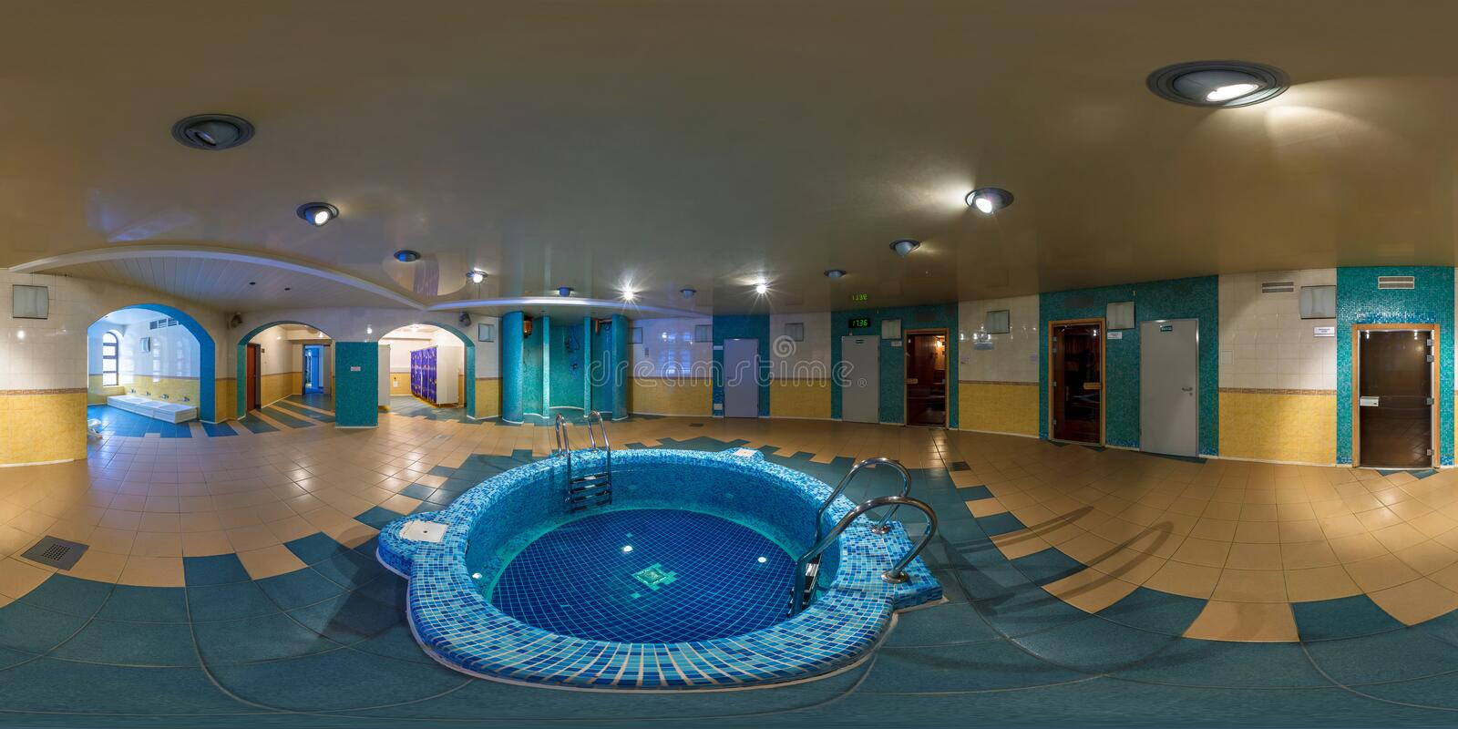 GRODNO, BELARUS - FEBRUARY 21, 2013: Full 360 degree panorama in equirectangular equidistant spherical projection in interier hall. Swimming pool bathroom stock photos