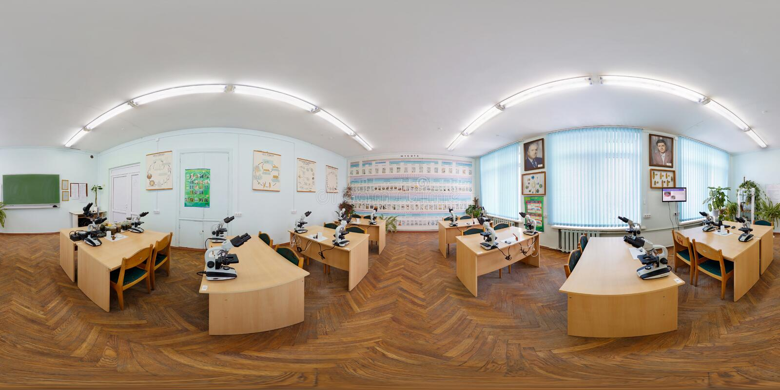 GRODNO, BELARUS - FEBRUARY 18, 2012: full 360 degree seamless panorama in equirectangular spherical equidistant projection. Panorama in interior of Training royalty free stock photography
