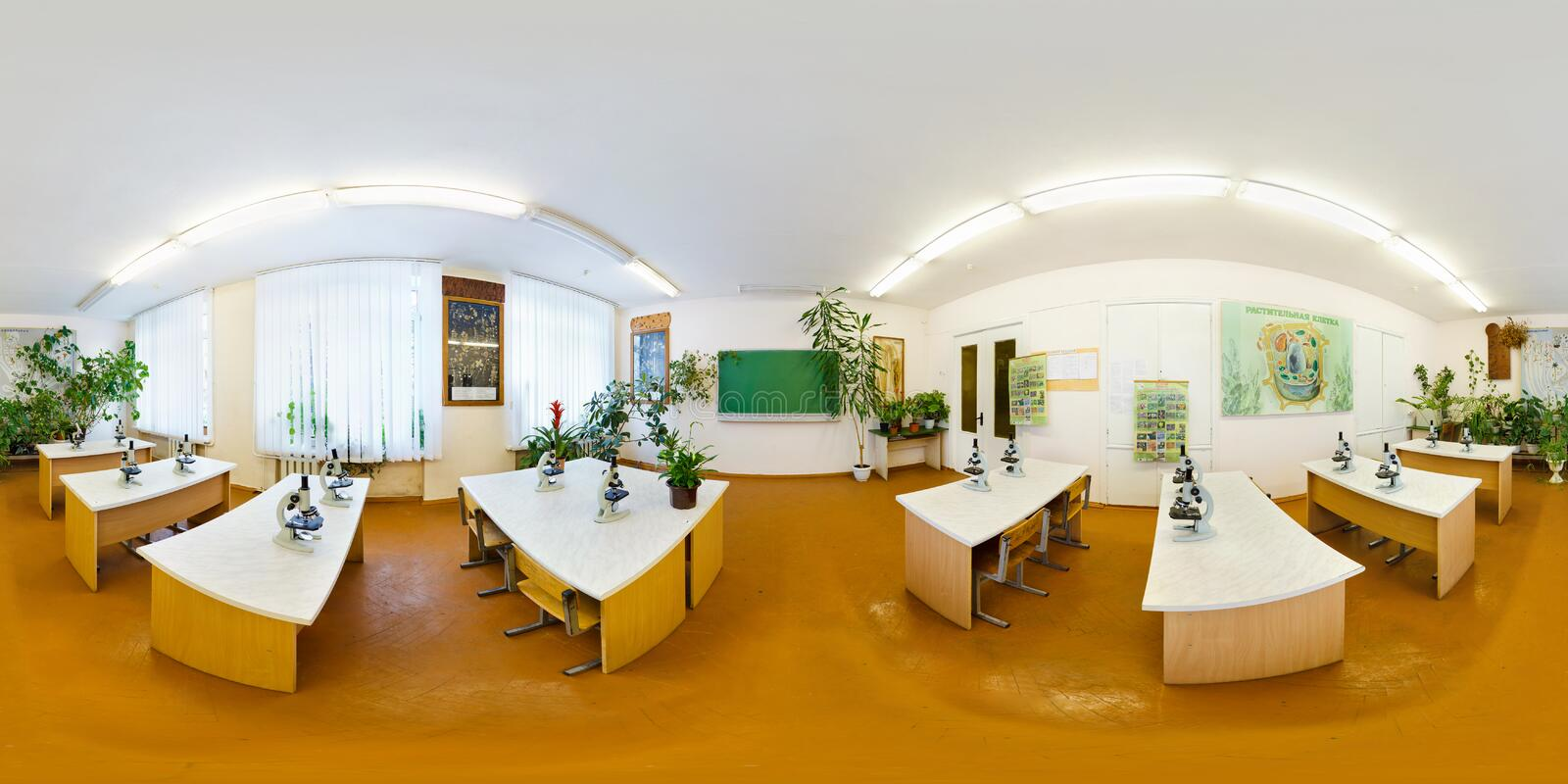 GRODNO, BELARUS - FEBRUARY 18, 2012: full 360 degree seamless panorama in equirectangular spherical equidistant projection. Panorama in interior of Training stock photos
