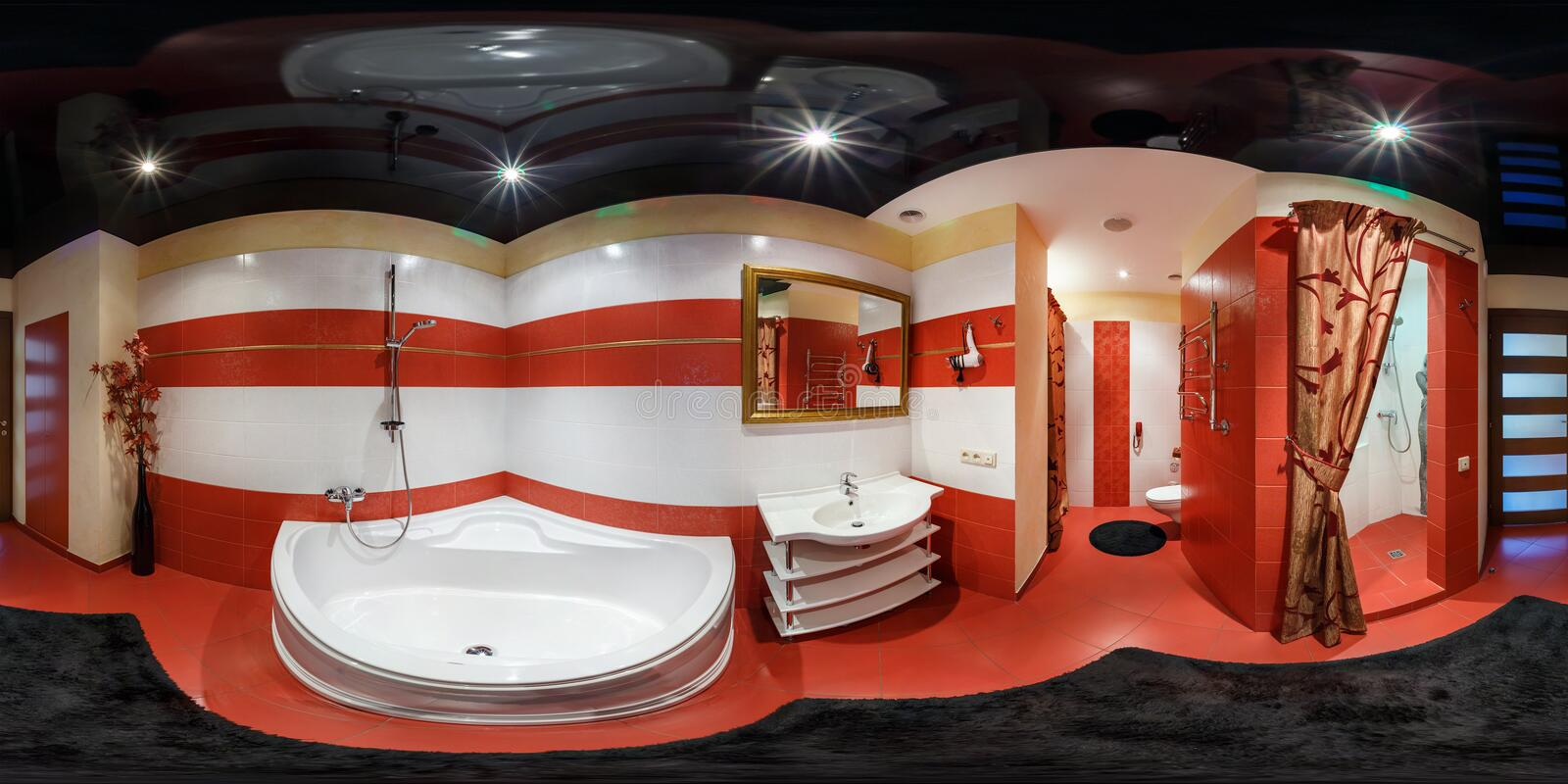 GRODNO, BELARUS - FEBRUARY 26, 2014: Full spherical 360 degrees seamless panorama in equirectangular equidistant projection,. Panorama in interior bathroom in royalty free stock image