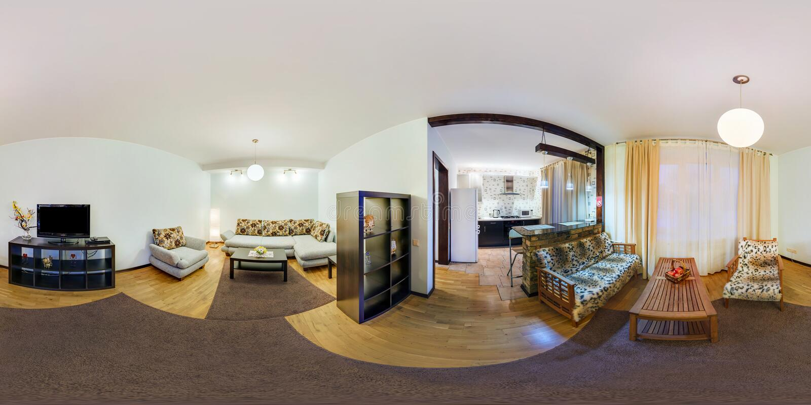 GRODNO, BELARUS - FEBRUARY 23, 2013: Full spherical 360 degrees seamless panorama in equirectangular equidistant projection,. Panorama in interior guestroom royalty free stock photo