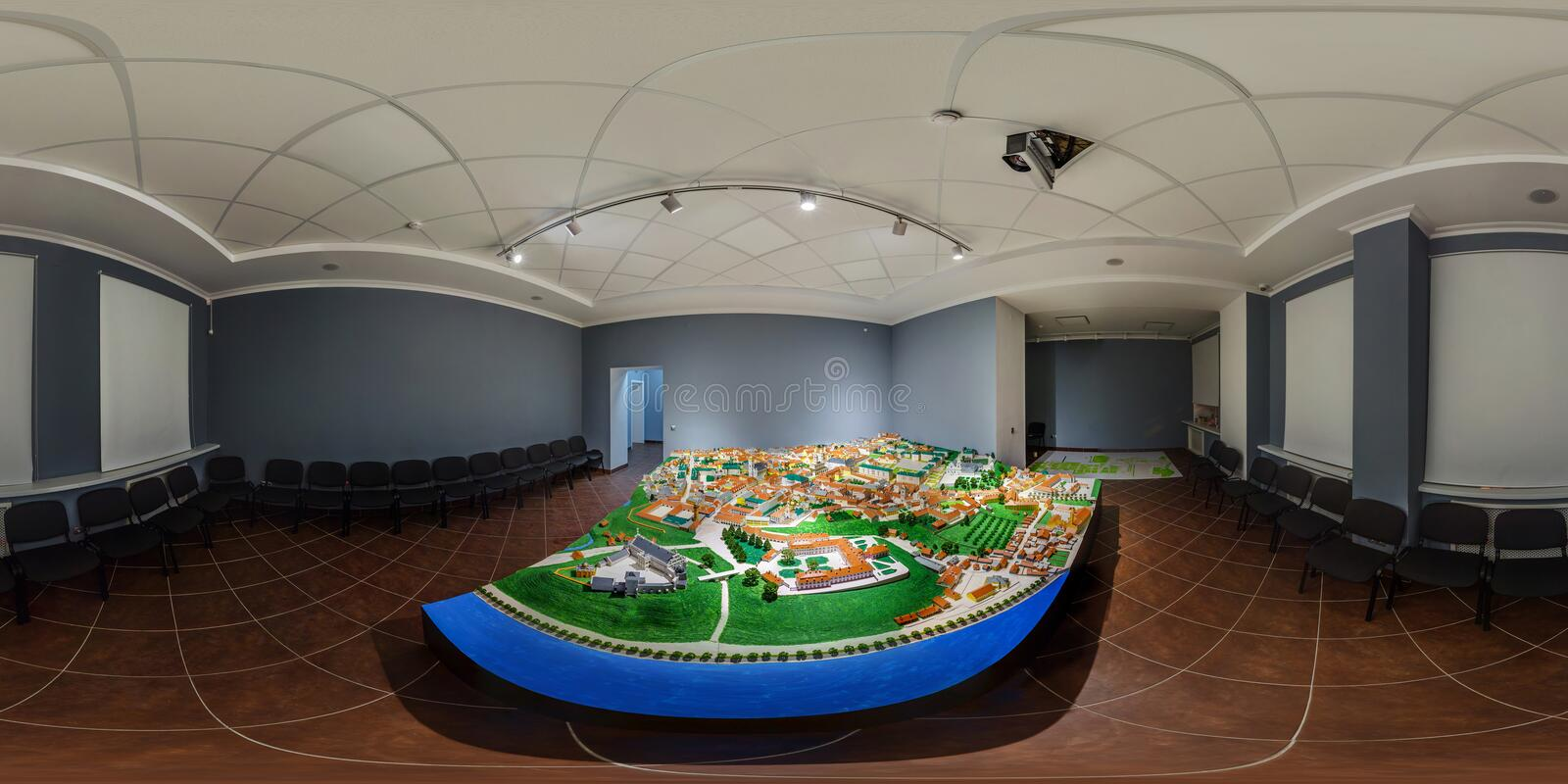 GRODNO, BELARUS - JANUARY 2019: Full spherical seamless hdri panorama 360 degrees angle view of miniature of old ancient town of royalty free stock photo
