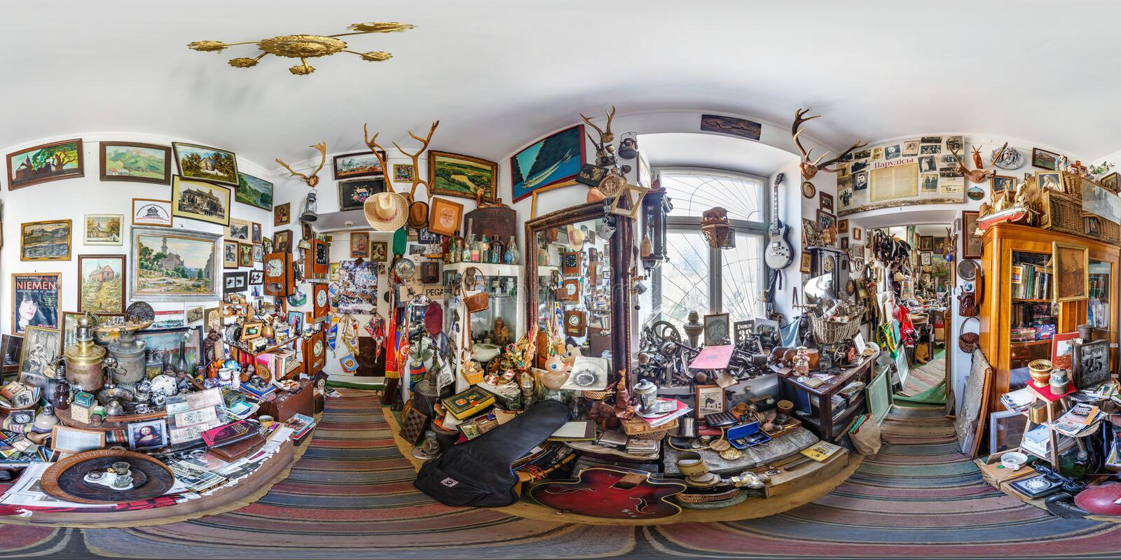 GRODNO, BELARUS - JULY, 2018: Full seamless spherical hdri panorama 360 degrees in the interior of Museum old things in stock photography