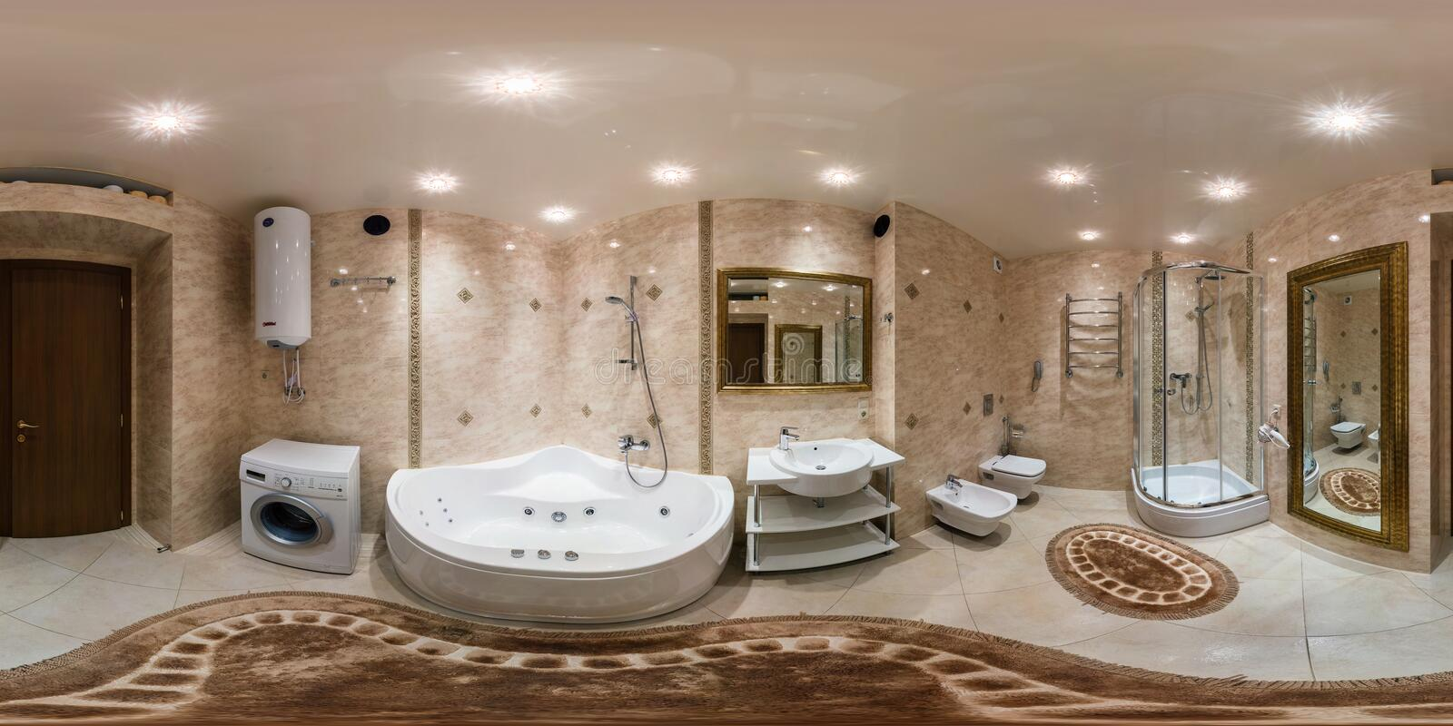 GRODNO, BELARUS - MARCH 1, 2014: Full spherical 360 degrees seamless panorama in equirectangular equidistant projection, panorama. In interior bathroom in royalty free stock photo