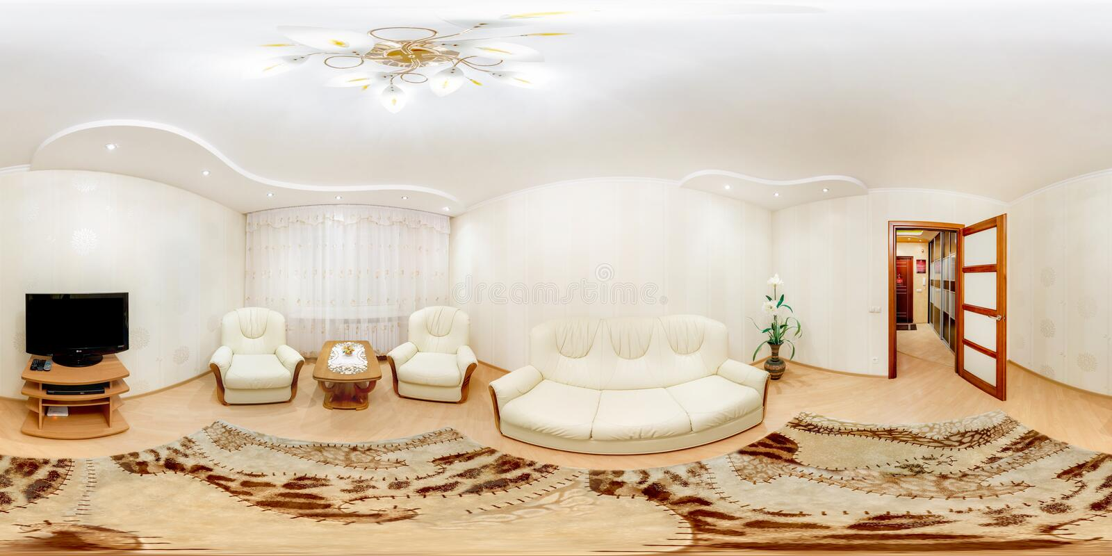 GRODNO, BELARUS - MARCH 20, 2013: Full spherical 360 degrees seamless panorama in equirectangular equidistant projection, panorama. In interior of guestroom stock images