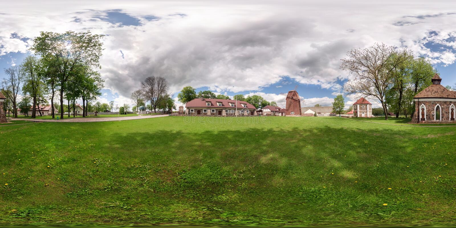 GRODNO, BELARUS - MAY 13, 2015: full 360 degree panorama in equirectangular spherical projection in vintage old castle, VR content.  stock image