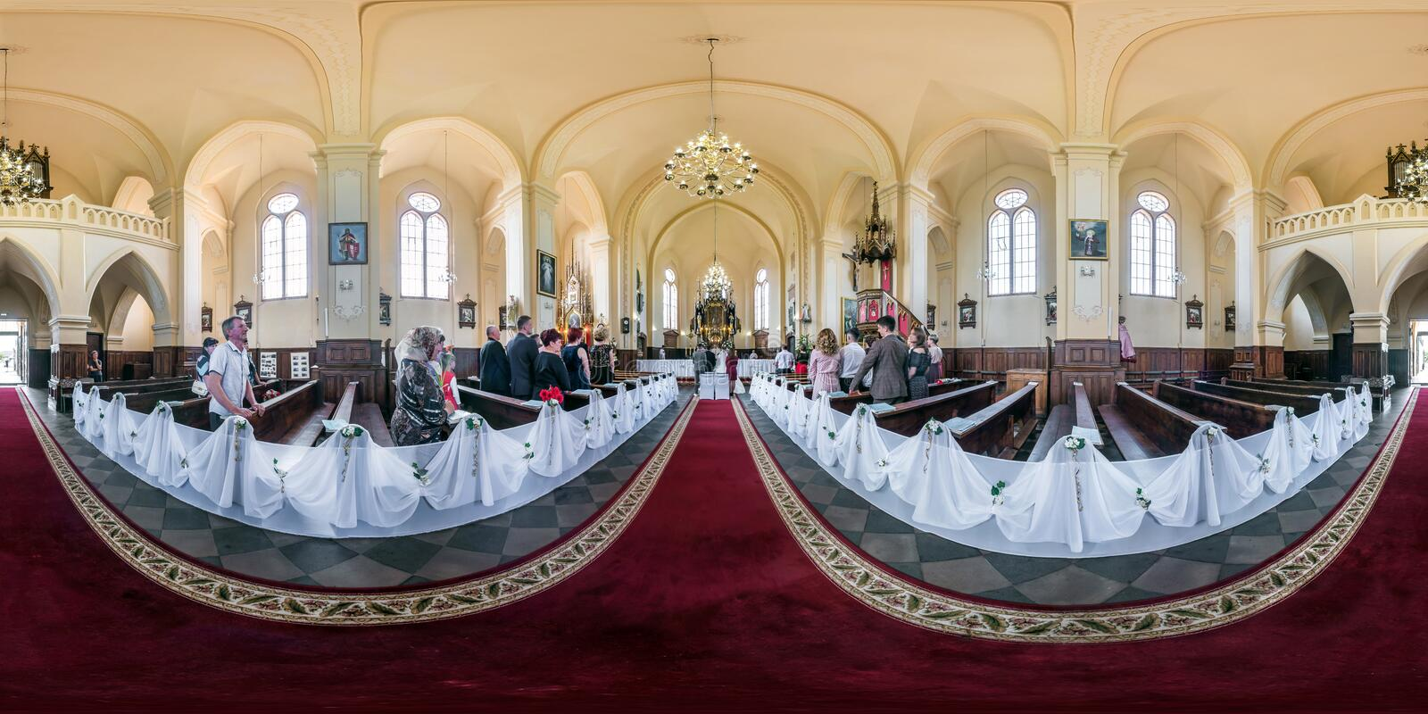 GRODNO, BELARUS - MAY, 2019: Full seamless spherical hdr panorama 360 in interior catholic Church during the wedding ceremony in royalty free stock photo