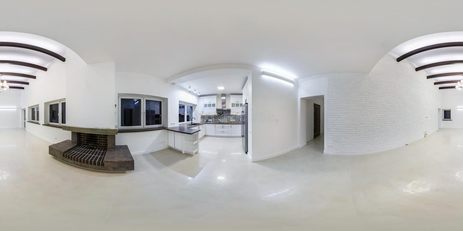 GRODNO, BELARUS - MAY, 2019: Full spherical seamless hdri panorama 360 degrees  view in white interior of guest room in homestead. Apartment with fireplace in royalty free stock images
