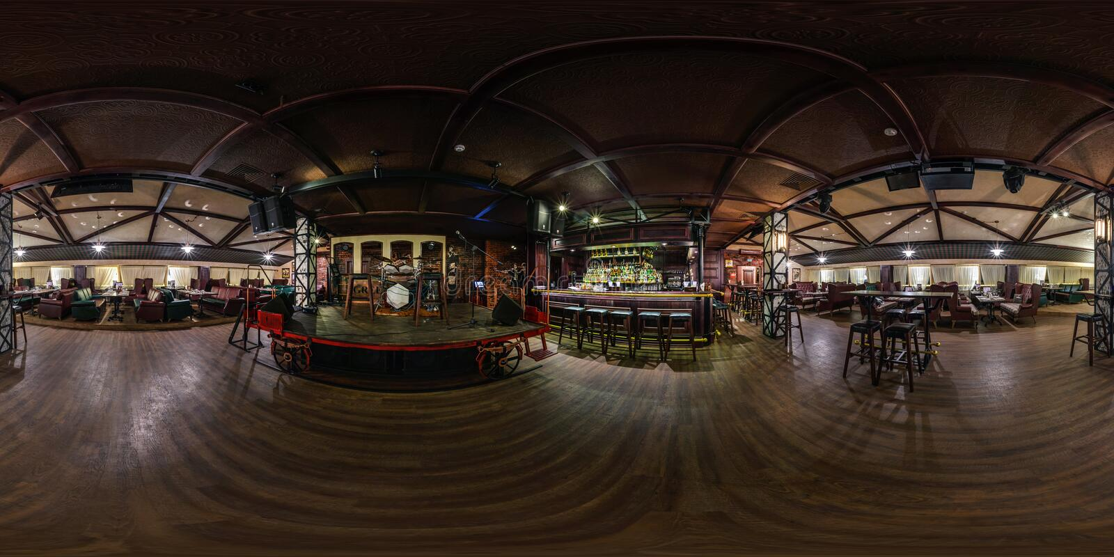 GRODNO, BELARUS - MAY, 2018: Full spherical seamless panorama 360 degrees in interior chester vintage restaurant nightclub bar stock image