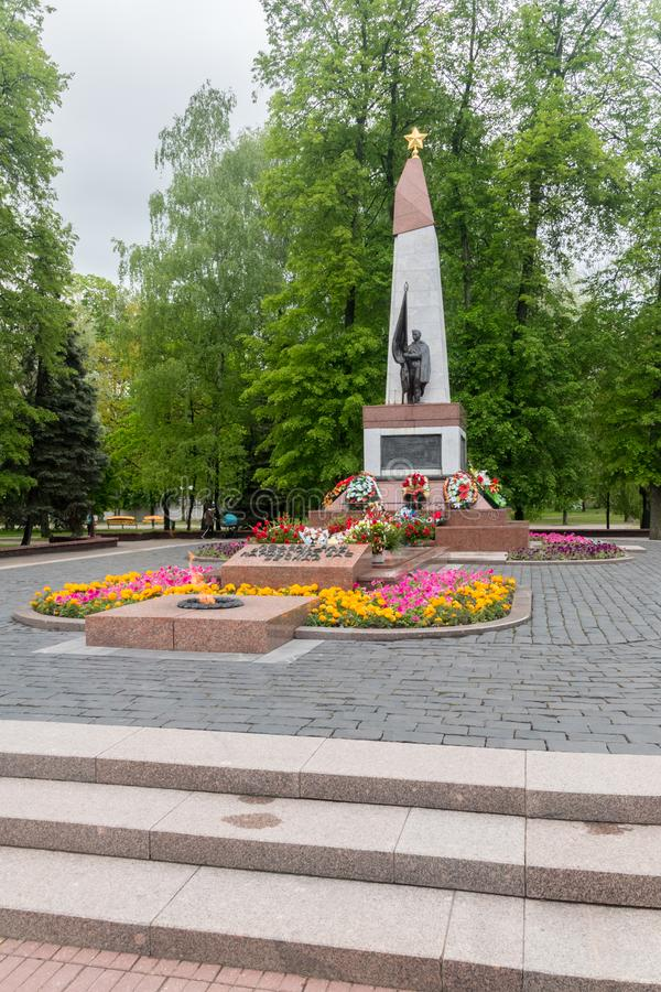 Monument to Soviet soldiers and partisans stock images
