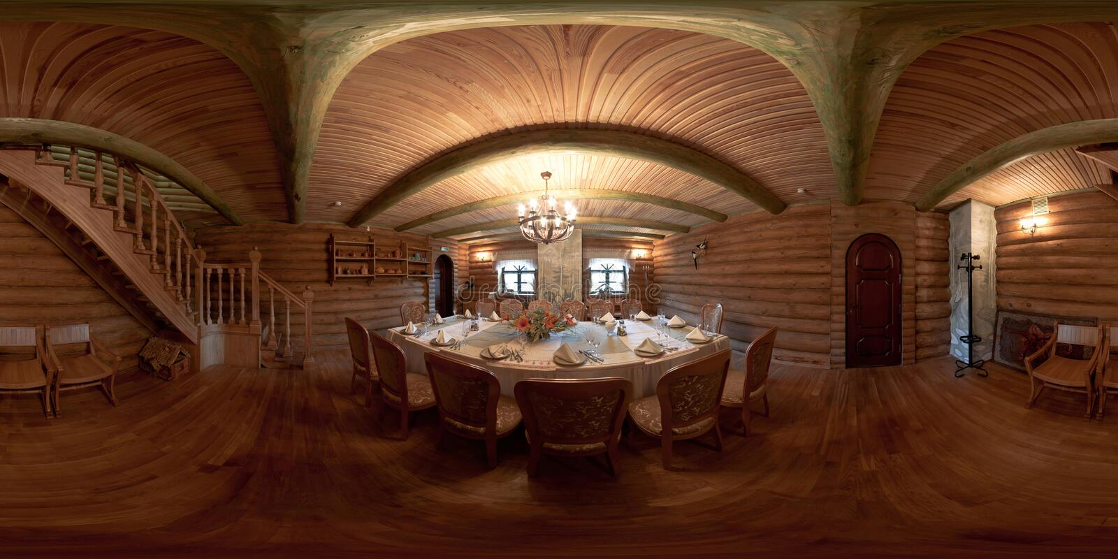 GRODNO , BELARUS - MAY 26, 2010: panorama inside interior of luxury stylish wooden banket hall. Full 360 degree seamless panorama. In equirectangular spherical royalty free stock images