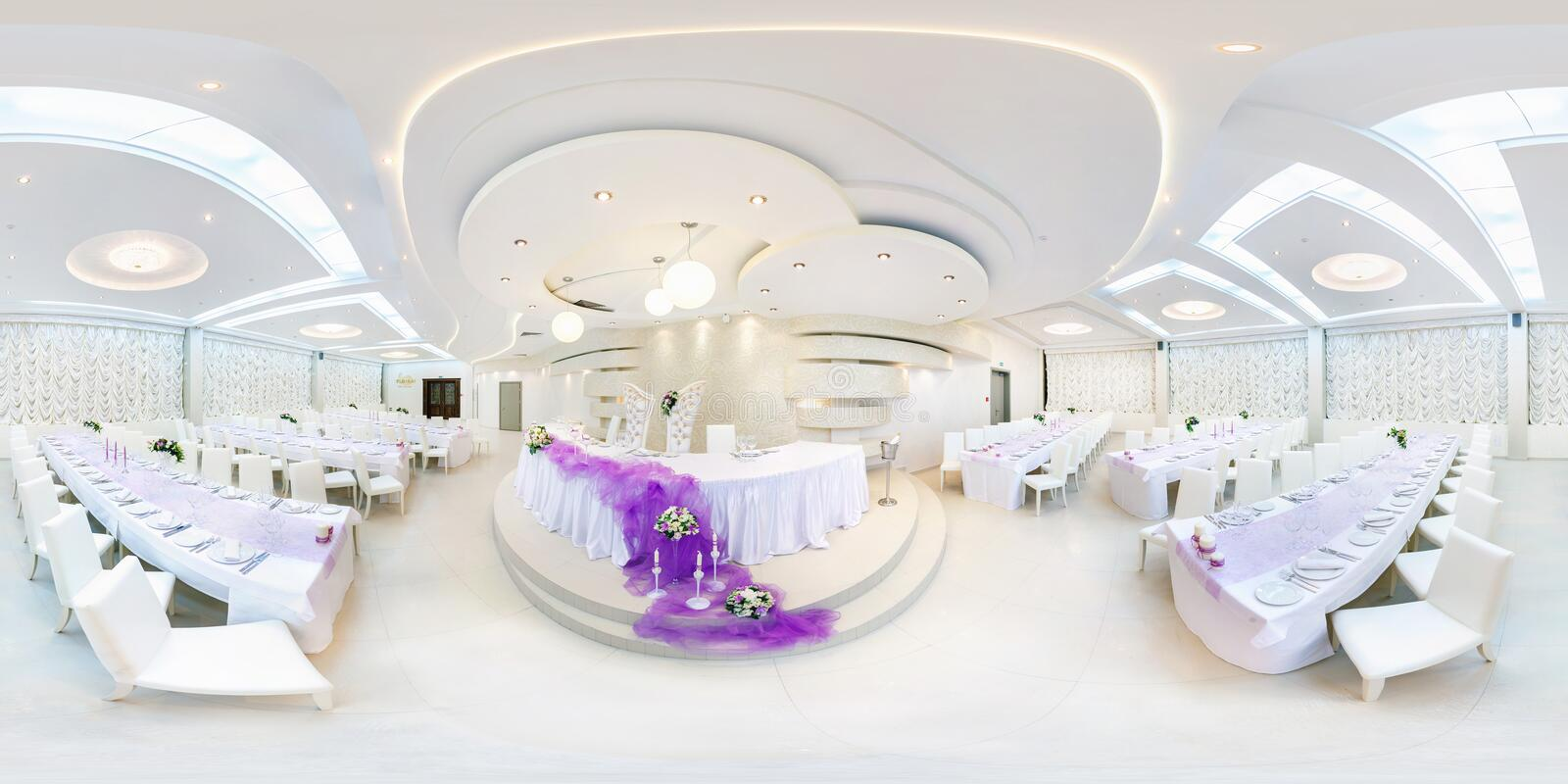 GRODNO, BELARUS - MAY 29, 2012: Panorama in interior in white banquet hall. Full 360 degree seamless panorama in equirectangular stock photography