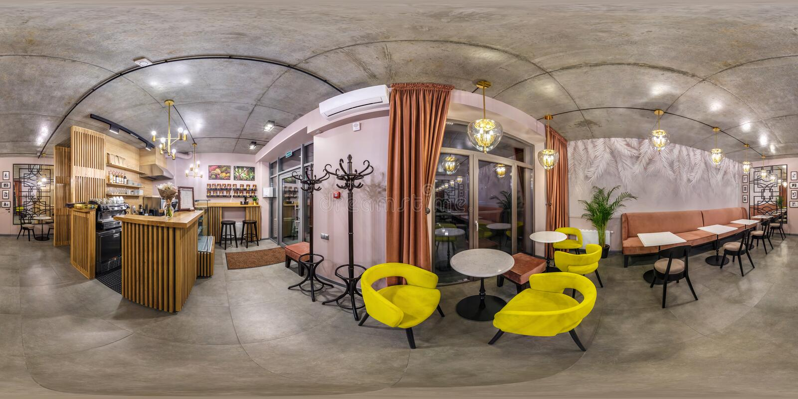 GRODNO, BELARUS - MAY 2019:  seamless spherical hdri panorama 360 degrees angle inside interior of stylish vintage cafe coffee bar royalty free stock photography