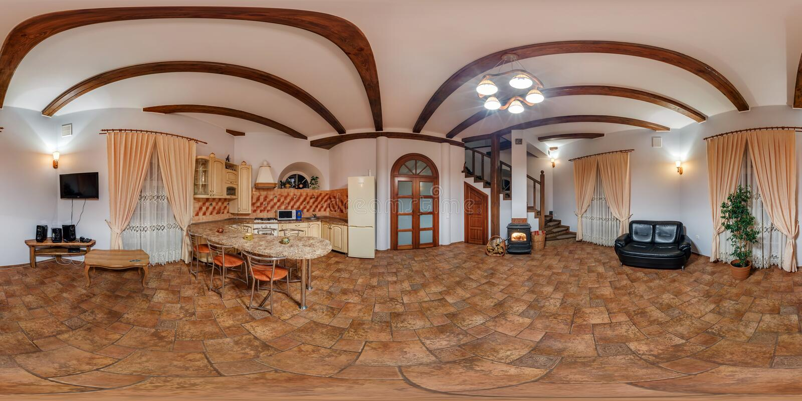 GRODNO, BELARUS - NOVEMBER 14, 2013: Full 360 degree panorama in equirectangular equidistant spherical projection in interier old. Vintage castle kitchen royalty free stock photography