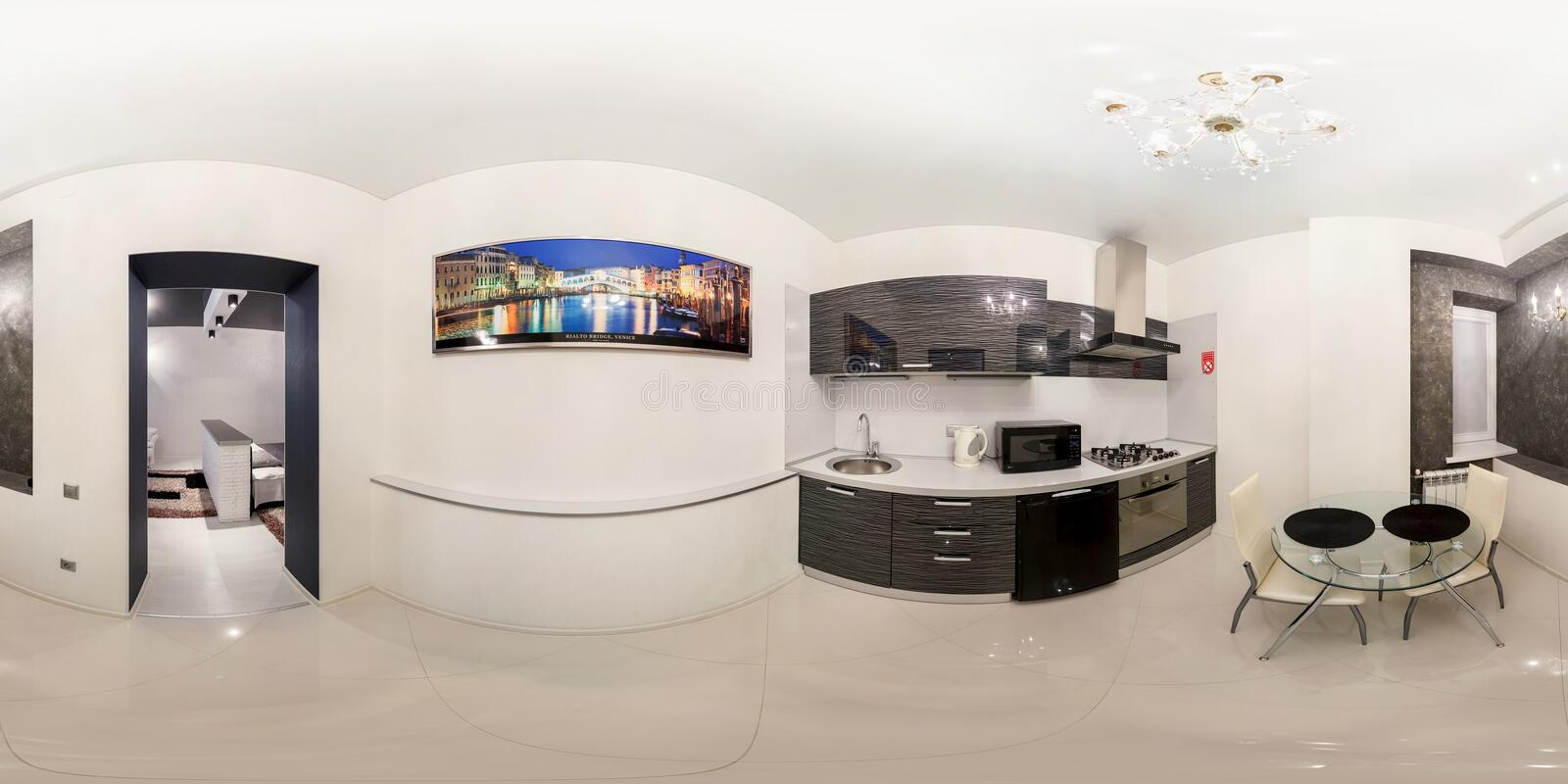 GRODNO, BELARUS - NOVEMBER 12, 2012: Full spherical 360 degrees panorama in equirectangular equidistant projection, seamless. Panorama of kitchen interior royalty free stock photography