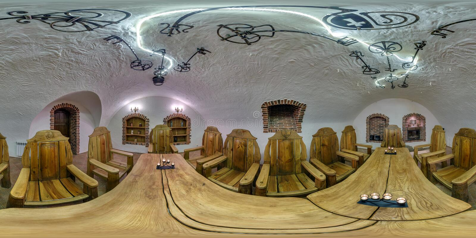 GRODNO, BELARUS - NOVEMBER 22, 2013: Full spherical 360 by 180 degrees seamless panorama in equirectangular equidistant projection. Panorama in interior royalty free stock photography
