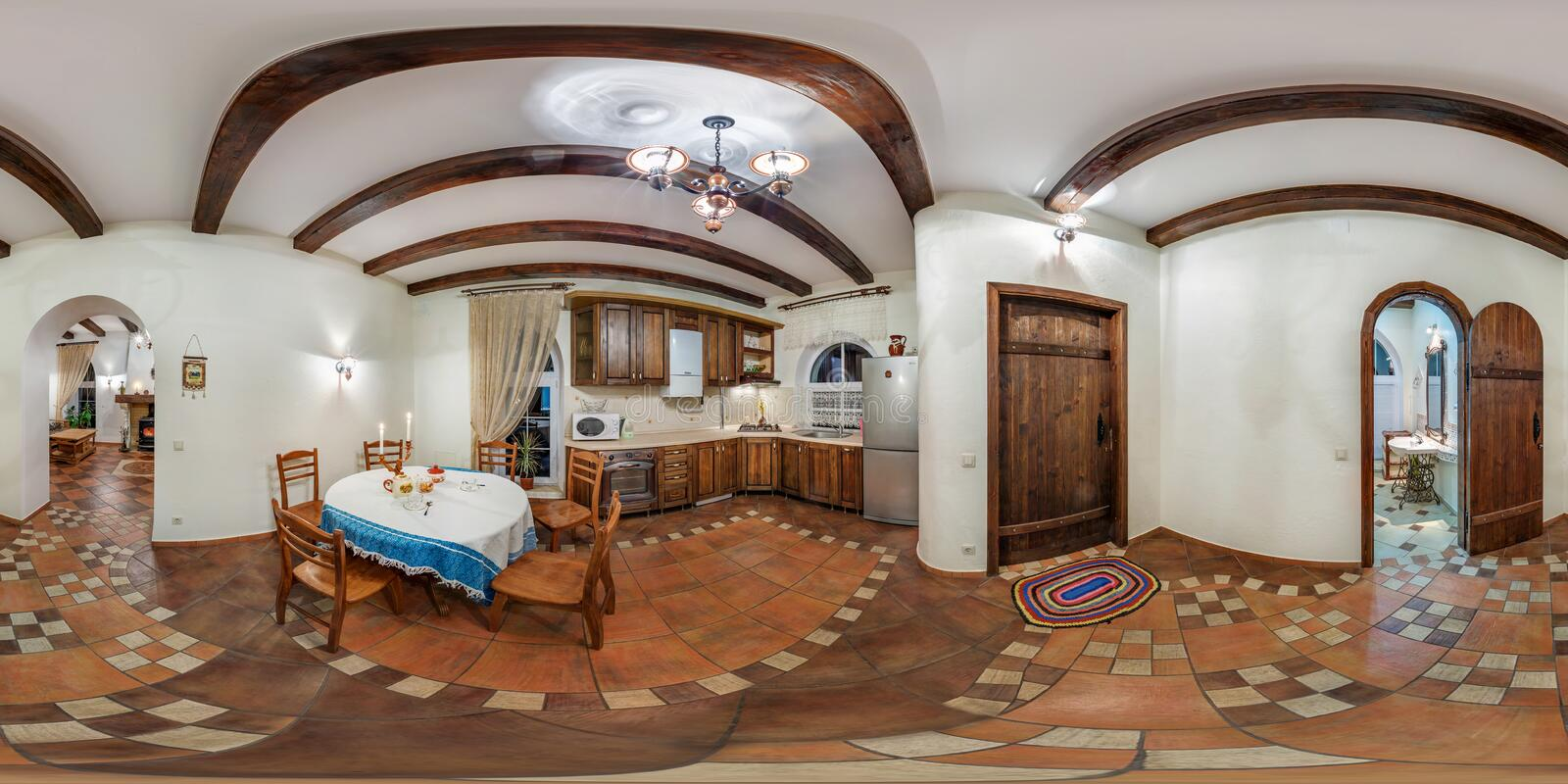 GRODNO, BELARUS - NOVEMBER 13, 2013: Panorama in interior kitchen in vacation house. Full spherical 360 by 180 degrees seamless royalty free stock photography