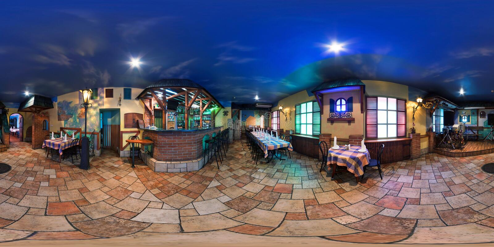 GRODNO, BELARUS - OCTOBER 16, 2011: full 360 degree panorama in equirectangular spherical projection in vintage style cafe, VR. Content royalty free stock photos
