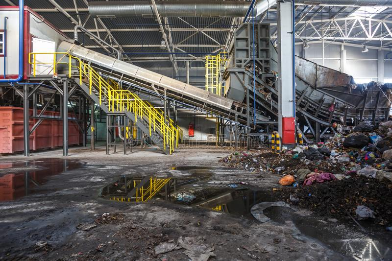 GRODNO, BELARUS - OCTOBER 2018: Modern waste recycling processing plant. Separate garbage collection. Recycling and storage of. Waste for further disposal stock photos