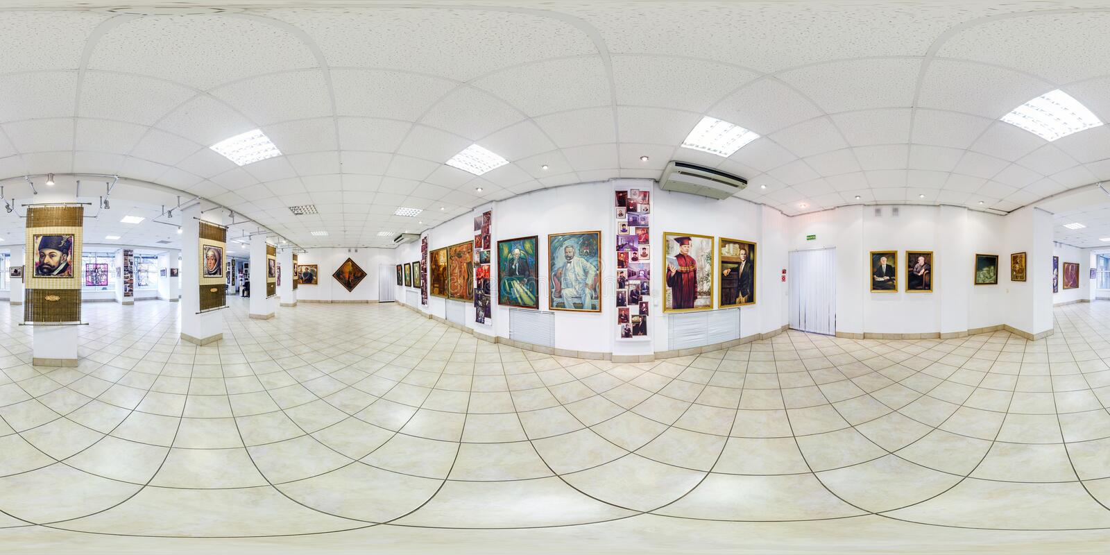 GRODNO, BELARUS - SEPTEMBER, 2018: Full seamless spherical panorama 360 degrees angle view in interior of contemporary art stock photography