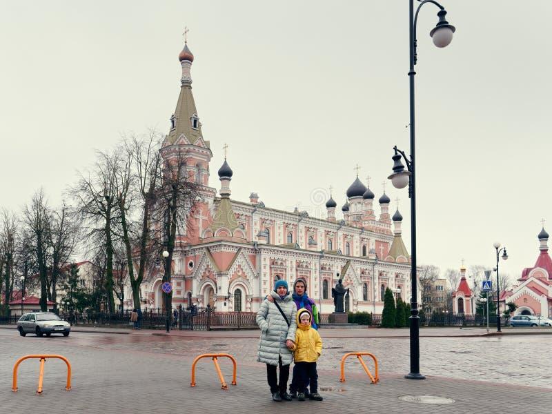 GRODNO BIAŁORUŚ, MARZEC, - 18, 2019: Święta ochrony katedra miasto Grodno obraz stock