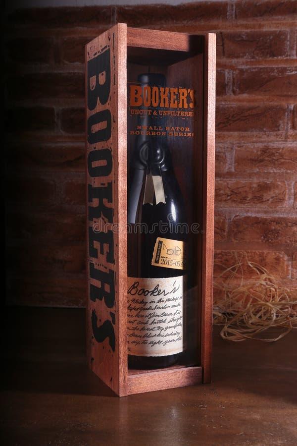 Grodno, Bielorrússia, Januar 02, 2018, ` s de Booker, uísque de bourbon reto de Kentucky fotos de stock royalty free