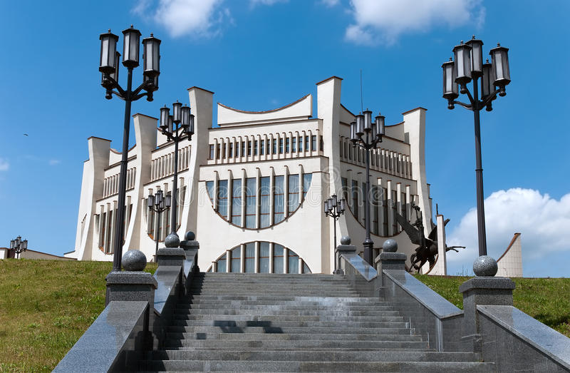 grodno för belarus cityscapefamouse teater arkivfoto
