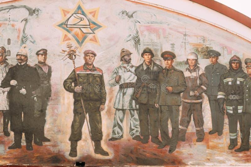 Grodno, Vitryssland Bild på väggen på åskådartornet, brandtornet på Zamkovayas gata arkivfoton