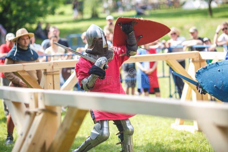 GRODNO VITRYSSLAND - JUNI 2019: medeltida jousting riddarekamp, i harnesk, hjälmar, ringbrynja med yxor och svärd på listor histo royaltyfri foto