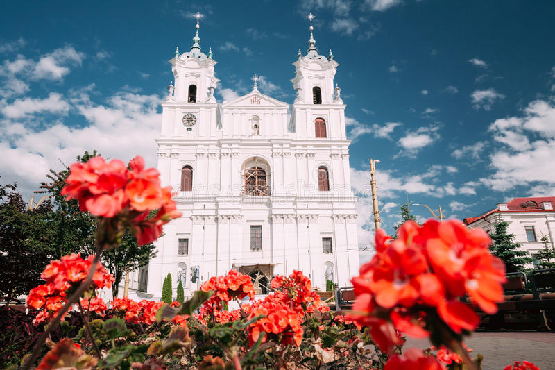 Grodno, Wit-Rusland Het beroemde Oriëntatiepunt is St Francis Xavier Cathedral At Sunny Summer Dag in Hrodna stock afbeelding