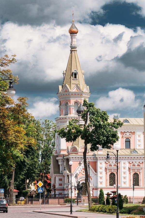 Grodno, Wit-Rusland Kathedraal van Interventie van het Meeste Heilige Theotokos in Straat E Ozheshko royalty-vrije stock afbeeldingen