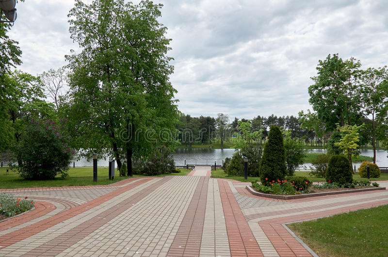 _ Grodnoen Mir Castle är ett museum- och slottkomplex Det angränsande territoriet av slotten Maj 22, 2017 fotografering för bildbyråer