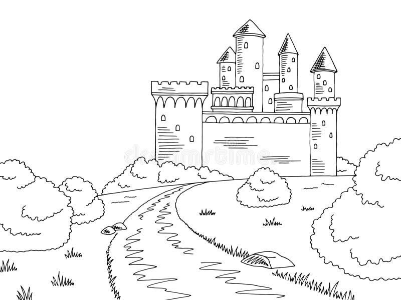 Grodowa drogowa graficzna czarna bielu krajobrazu nakreślenia ilustracja royalty ilustracja