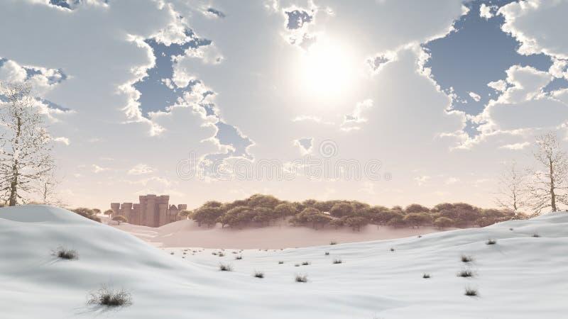 grodowa odległa śnieżna zima ilustracja wektor