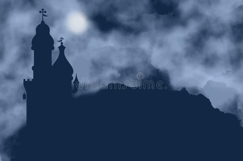 Grodowa sylwetka i księżyc na mgłowej nocy ilustracja wektor