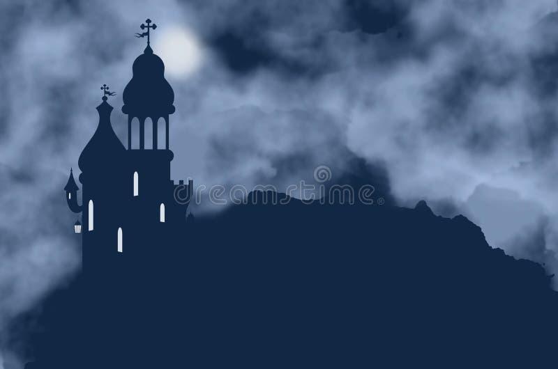 Grodowa sylwetka, lampion i księżyc na mgłowej nocy, royalty ilustracja