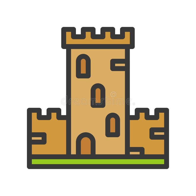 Grodowa wektorowa ikona, wypełniający konturu stylu editable uderzenie royalty ilustracja