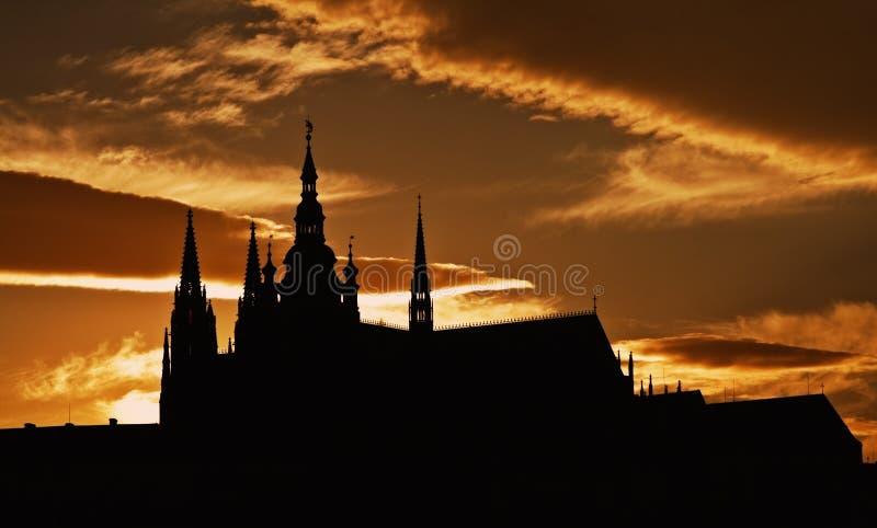 grodowa zmierzchu Prague sylwetka fotografia stock