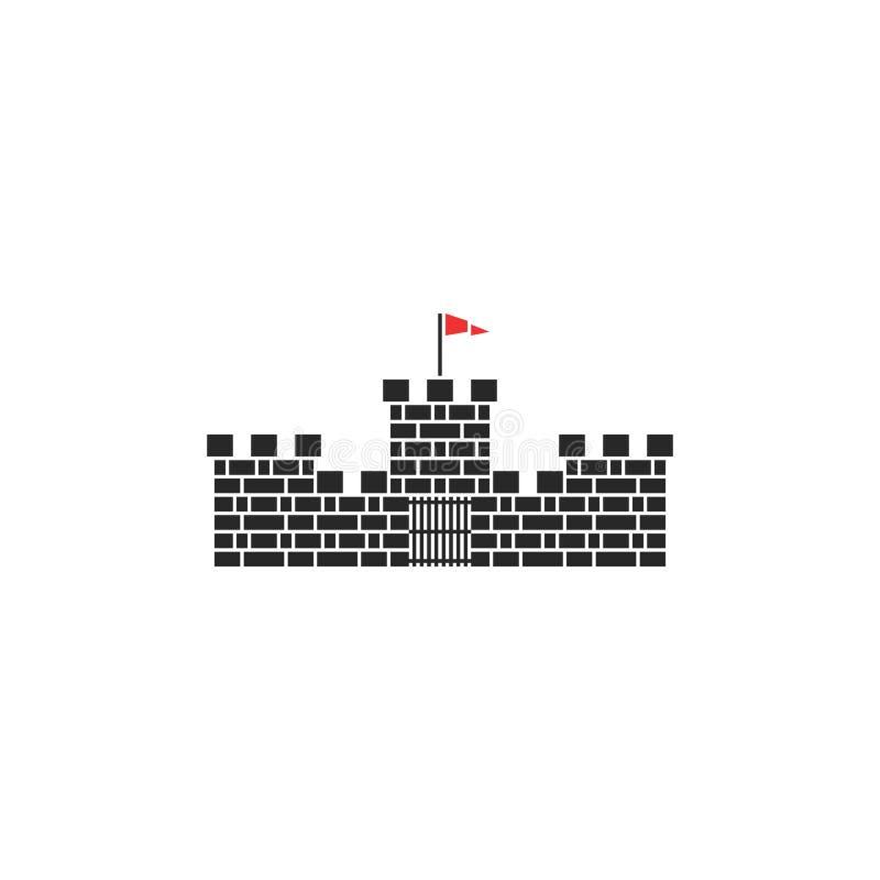 Grodowego logo wierza kamienia średniowieczny budynek z czerwoną flagą i bramą na białym tle royalty ilustracja