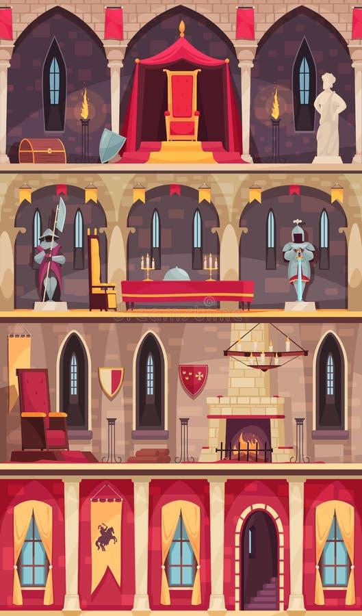 Grodowi kreskówka sztandary royalty ilustracja
