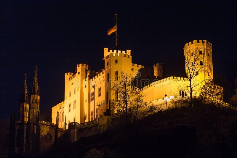 grodowi stolzenfels Germany przy nocą obrazy royalty free