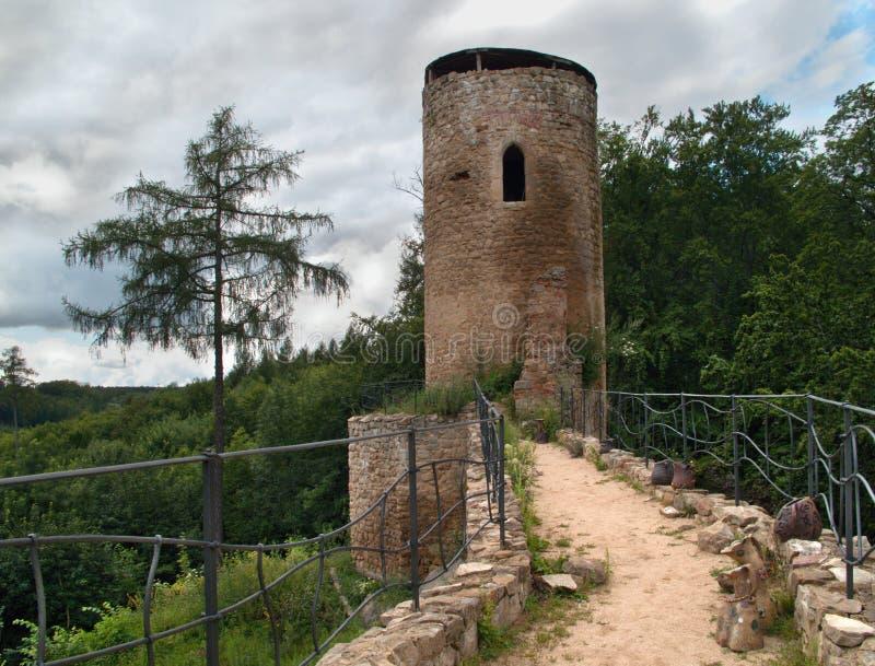 grodowy cimburk Moravia ruiny wierza obrazy royalty free